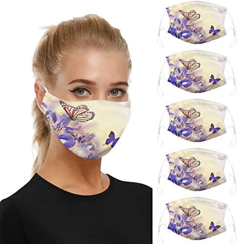 5 STK Baumwolle Mundschutz mit Motiv Gesichtsschutz,waschbar Unisex Wiederverwendbare Staubschutz Gesichtsabdeckung, Anti-Staub mundschutz zum Laufen, Radfahren (C)