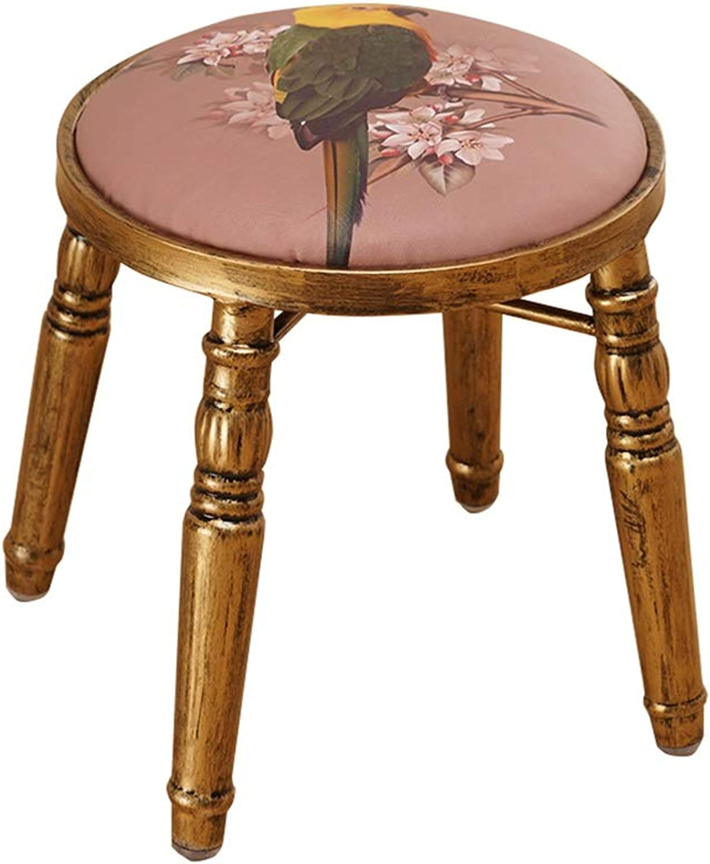 Iron Round Dressing Stool   Retro Makeup Stool Hairdressing Stool   Luxury Bar Seatting Stool Dining Chair with Brass Stool Leg