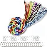 Scoubidou Hilo Plastico, 200PCS Scoubidou con 20 Clips y 20 Llaveros para Llaveros, Cordones, Piezas Decorativas y pulseras de la Amistad, 20 Colores