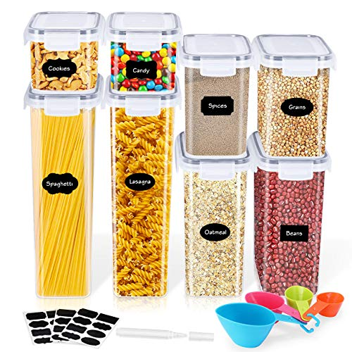 Gifort Contenitori per Cereali, Contenitori per Alimenti Ermetici con Etichette, Cucchiai e Pennarello, Barattoli in Plastica Senza BPA con Coperchi per Farina Cereali Pasta