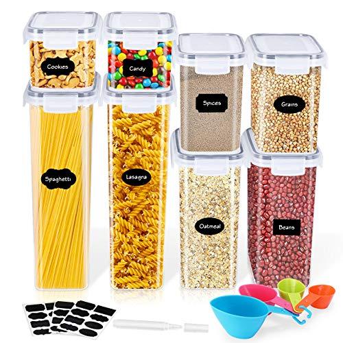 Gifort Recipiente para Cereales, Recipiente para Pasta, Botes Cocina con Etiquetas, Cucharas y Marcadore, Almacenamiento de Cocina y Despensa Sin BPA para Pastas Harina Cereales