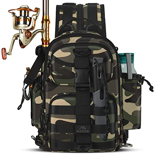 Fishing Backpack, Small Waterproof Fishing Bag for Men with Rod...