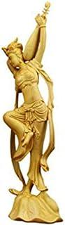 置物 柘植木彫り 【オブジェ・彫刻置物・美術品】 飛天四音 6.5寸 木製彫刻 高級天然ツゲ 彫工芸品 美術品 飾り物 ギフト用 手作り 柘植の木 (琵琶侍女)