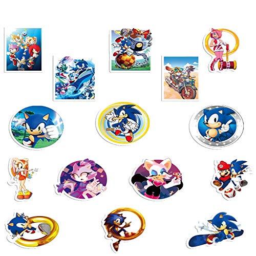 pegatinas de anime 15 piezas Sonic the Hedgehog pegatinas película clásica para portátil Moto monopatín equipaje refrigerador portátil juguete