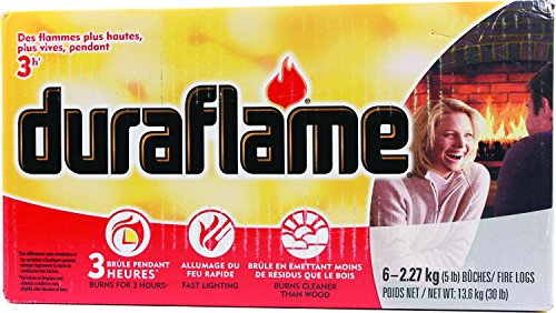 Duraflame Fire Log, 5 lb, 6-Pack - Lights quickly – full flames in less than 5 minutes Burns up to three hours; Burns 80% cleaner than wood 5lb firelog & 6-log; UL approved safety classification for use in UL-listed factory built fireplaces - patio, outdoor-decor, fire-pits-outdoor-fireplaces - 51lfrVK6muL -