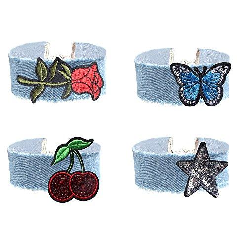 MingJun 4 Pieces Wide Light Blue Denim Jeans Collar Coker Necklace Set Embroidered Rose Flower Necklace for Women Girls 90's