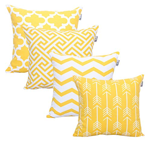 """Accent Home Square Printed Cotton Cushion Cover,Throw Pillow Case, Slipover Pillowslip for Home Sofa Couch Chair Back Seat,4pc Pack 18x18"""" in Yellow Color"""