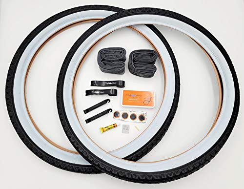Holy Shinobi Beach Cruiser, Durable Wire Bead Tires White Sidewall, Whitewall 24 x 2.125 Replacement Bike Tire Bundle Kit, 24x1.75/2.125 Inner Tube, 24 in Rim Lining Strips, and Set of Levers