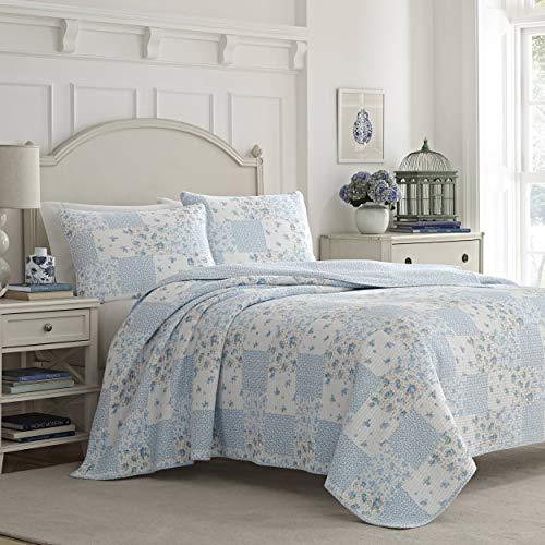 Laura Ashley Home | Luxuriöser, besonders weicher Bettbezug, bequemes 3-teiliges Bettwäsche-Set, stilvolle Tagesdecke, Baumwolle, Kornblumenfarben, King-Size-Bett