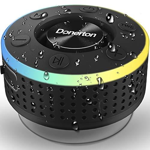 Altavoz Bluetooth, IP7 Impermeable Inalámbrico Portátil Altavoz Ducha con FM Radio, Altavoces Bluetooth con Sonido Estéreo de 360 Grados y Micrófono, 8-10 Horas de Reproducción Speaker para Baño Playa