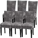 Fuloon Stuhlhussen 6er Set Universal Stretch Stuhlkissen Sessel überzug stuhlbezüge Protector...