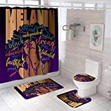 XVWJ Lovely African American Shower Curtains American Background of Letters Bathroom Sets with Non-Slip Rugs, Toilet Lid Cover and Bath Mat Shower Curtain with 12 Hooks