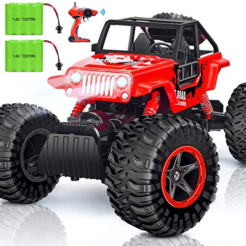 INGQU Remote Control Truck 1:14 RC Car 2 Batteries Headlights 4WD Dual Motors Off Road Monster Trucks RC Crawler All Terrain Hobby Truck for 60 Min Play Boys Girls Gifts
