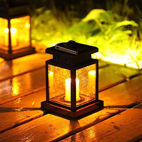 FreeLeben Solar Lantern Garden Outdoor LED Hanging Lamp with Sensitive Light Sensor Warm White Candle/Star Lighting for Corridor, Courtyard, Party, Dusk to Dawn Auto On/Off