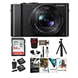 Panasonic LUMIX LX10 4K Digital Camera with 24-72mm f/1.4-2.8 Lens (Black) with 64GB Memory Card, Photo Software Kit, Battery/Charger Pack, 12-Inch Spider Tripod, and Accessory Bundle (10 Items)