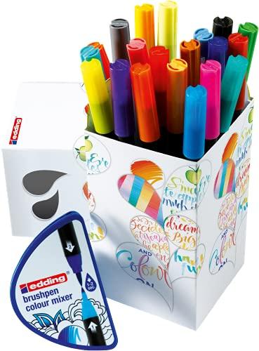 Edding Colour Happy Big Box - juego grande de 20 +1 mezclador colores graduales - colores brillantes y delicados - diarios de viñetas, manuscritos, mandalas, caligrafía