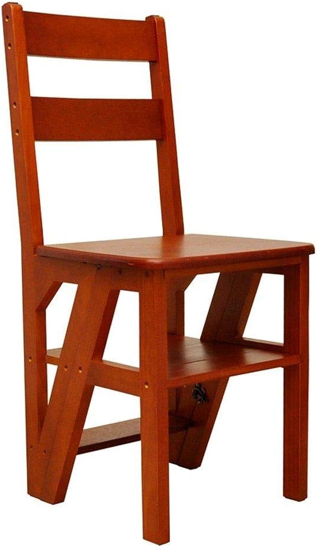 RMJAI Massivholzleiter Stuhl Multifunktionale Holzleiter Stuhl Faltbare Regalleiter mit 4 Stufen für Heimtextilien und Bibliothek (Farbe  BRAUN), Schwarz Tritthocker (Farbe   braun)