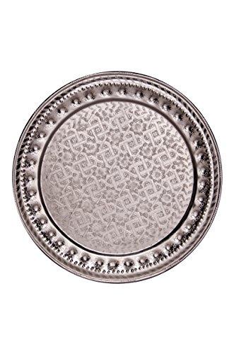Orientalisches rundes Tablett aus Metall Amana 55cm | Marokkanisches Teetablett rund in der Farbe Silber | Orient Silbertablett silberfarbig | Orientalische Dekoration auf dem gedeckten Tisch