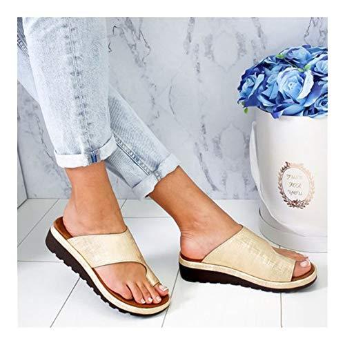Zapatillas De Talla Grande Mujer, Zapatillas Correctivas For El Dedo Gordo Pie, Sandalias De Plataforma Modernas Cómodas, Zapatillas Suaves Viaje Verano For Playa, Zapatillas De Espiga (oro, 34-44)