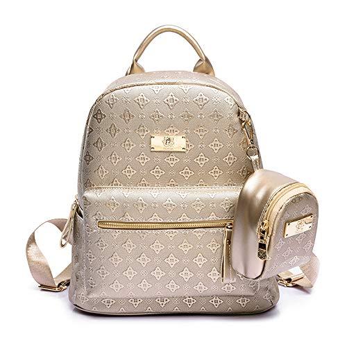 HKANG® Leder Rucksäcke Lingge Mode Daypacks Damen Freizeitrucksack Gold Schwarz Beige,Gold