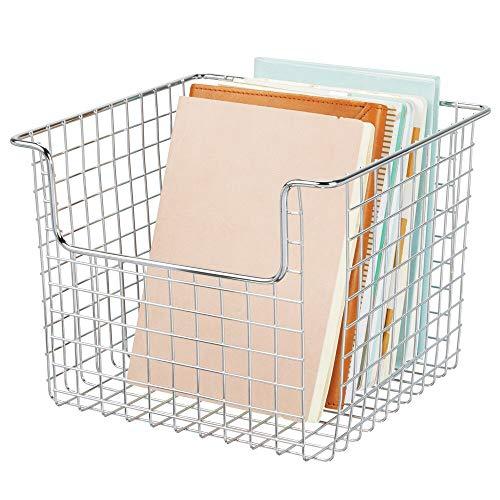 mDesign Drahtkorb für den Schrank oder das Regal – praktische Aufbewahrungsbox für die Küche, das Bad oder Büro – offene Ablagebox aus Metalldraht – silberfarben