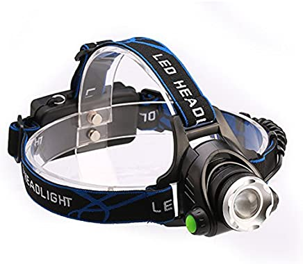 Winner Outfitters Rechargeable Headlamp,1800 Lumens Zoomable Waterproof LED head lamp flshlight, Hands-free Headlight Torch Lamp for Hunting Hiking Camping Fishing Reading Running Cycling