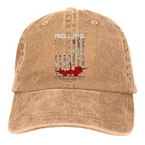 Roughneck Oil Rig American Flag Vintage Adjustable Baseball Cap Denim Dad Hat