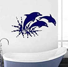 Pegatina De Baño Para Habitación De Niños, Calcomanía De Vinilo Para Pared Con Delfines, Animal Marino, Mural Marino, Deco...