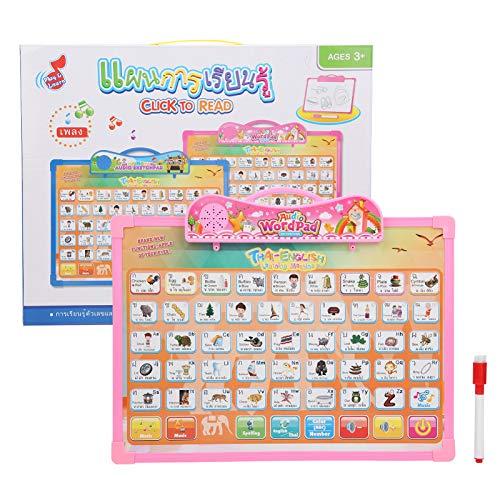 YOUTHINK Vorschule Lernen Soundbuch Elektronische interaktive Baby Kleinkind Tiere Frucht Musik Anerkennung Buchstaben und Zahlen zählen Lernspielzeug(Rosa)