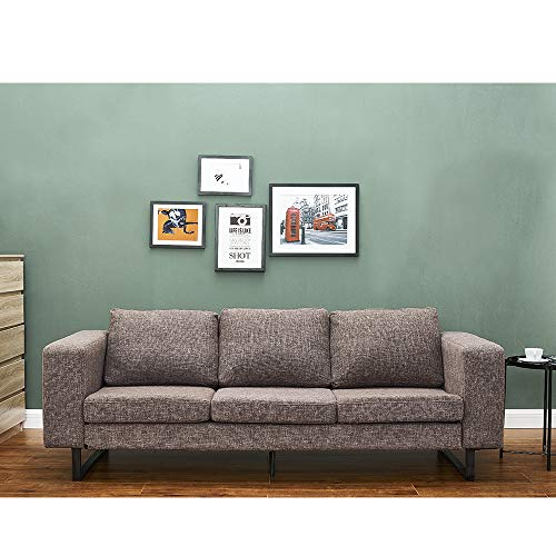 Sofá esquinero de 3 plazas de tela para salón, oficina, 210 x 80 x 80 cm (marrón)