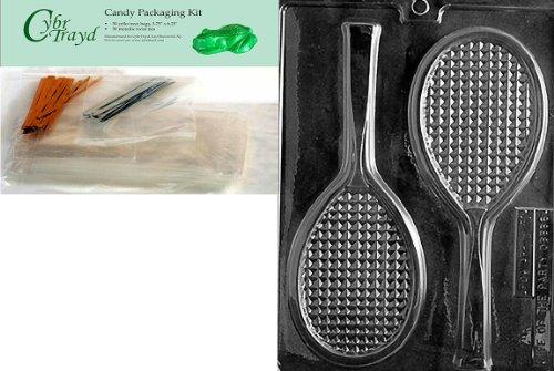 Cybrtrayd mdk50-s031Tennis Schläger Sport Schokolade Candy Form, inklusive 50Cello Taschen, 25gold und 25silber Twist Ties