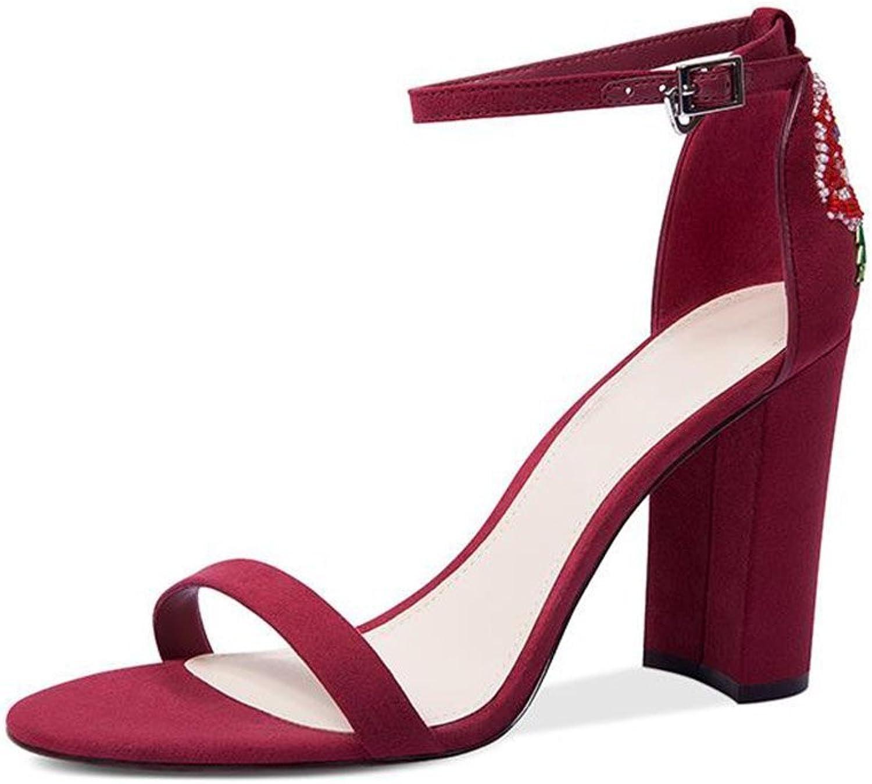 JIANXIN JIANXIN Damen Sommer Chunky Sandalen Mit High Heels Mode Leder Perlen Sandalen. (Farbe   rot, Größe   EU 35 US 5 UK 3 JP 22.5cm)  hohe Qualität echt