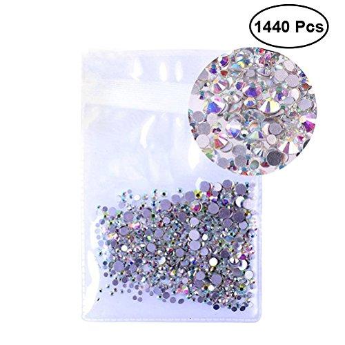 rosenice Lot de 1440 strass ronds à dos plat 1,5 mm pour décoration d'ongles et de téléphone portable