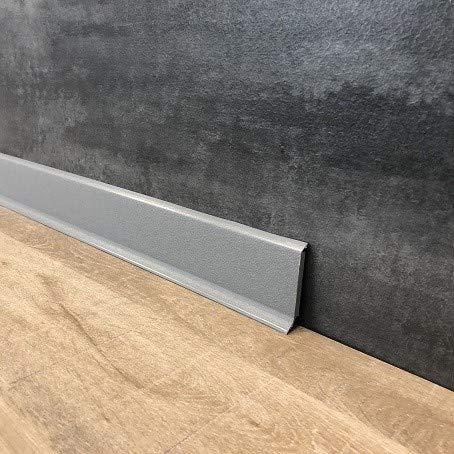 10 Meter Fußleisten | Sockelleisten 60 x 12.8 mm25560-0107 aus PVC Hartschaum mit durchgefärbter Weichlippe| Kunststoff-Leiste Grau