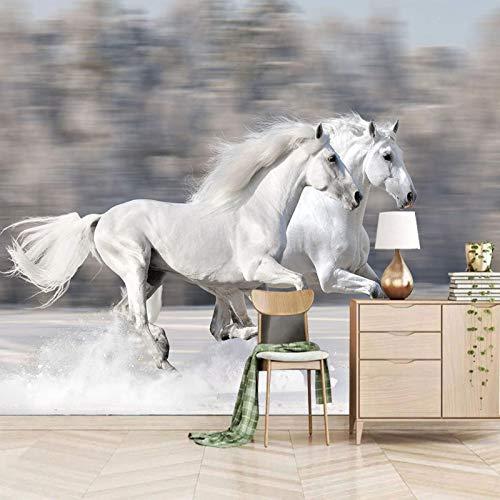 ZEISIX papel pintado habitacion foto en pared empapelar armario/Blanco animal caballo/Aplicar para salones niños niñas juvenil habitacion bebe guardería dormitorio matrimonio cabeceros de cama des
