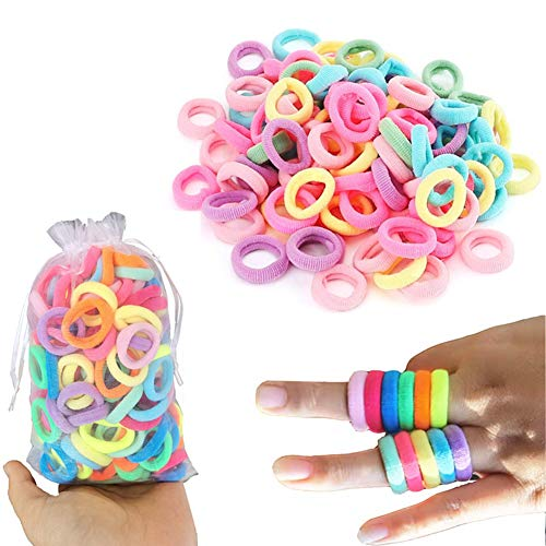 200pcs Small Elastic Cotton Toddler Hair Ties Seamless Hair Bands Colored Soft Ponytail Holders for Girls