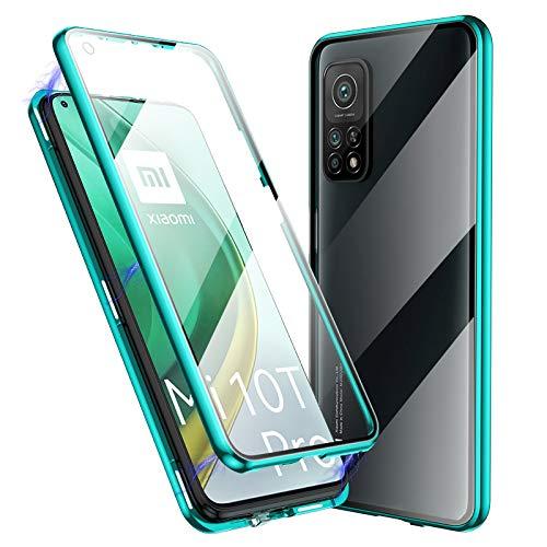 Jonwelsy Funda para Xiaomi Mi 10T / Mi 10T Pro, 360 Grados Delantera y Trasera de Transparente Vidrio Templado Case, Fuerte Tecnología Adsorción Magnética Metal Bumper Cubierta para Mi 10T (Verde)