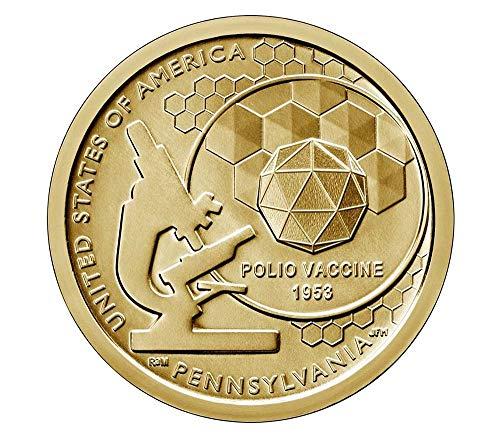 2019 D American Innovation Pennsylvania – Polio Vaccine $1 Coin – Roll of 25 Dollar Coins Uncircualted