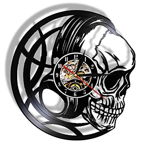 AXEF Evil Skull Headphones Vinyl Record Reloj de Pared Black Skull Head Clock Reloj Luces LED Decoración de Arte Oscuro Reloj de Cuarzo Regalo para Hombres 30cm