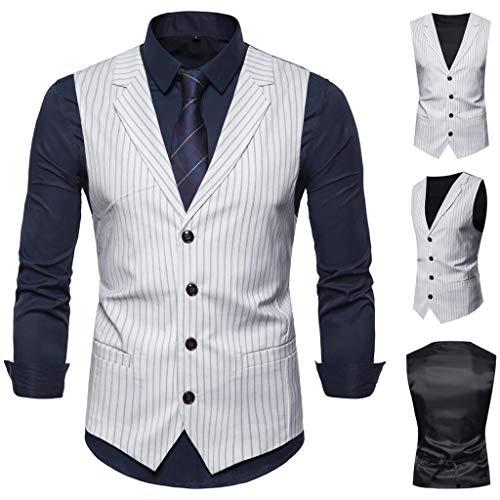 PPangUDing Herren Weste Ärmellose Hochzeit Anzug Business Blazer Anzugweste Einreiher V-Ausschnitt Sakkos Western Slim Fit Smoking Herrenweste Herrenanzug Elegant Vest (XL, Weiß)