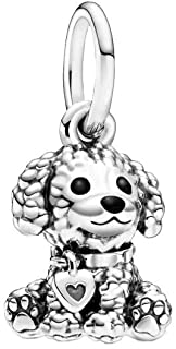 Bellestory Poodle Puppy Dog Charm Sterling Silver Heart Bead fit European Bracelets Necklace