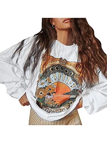 Sudadera con cuello redondo para mujer Y2k Graphic Pullover Casual Manga Larga Blusa Tops E-Girl Streetwear, Gris Claro, S