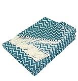 Moon Luxury Decke aus Baumwolle ca. 150x200 Kuscheldecke Zick-Zack Muster Tagesdecke mit Fransen leicht und kuschelig – weiß / Petrol