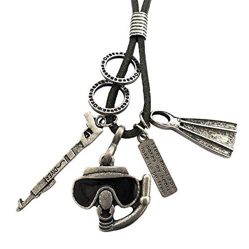 Ebsem Sport Action Fun Necklace, Genuine Leather Cord Surfer Jewelry for Men & Women (Scuba Diver)