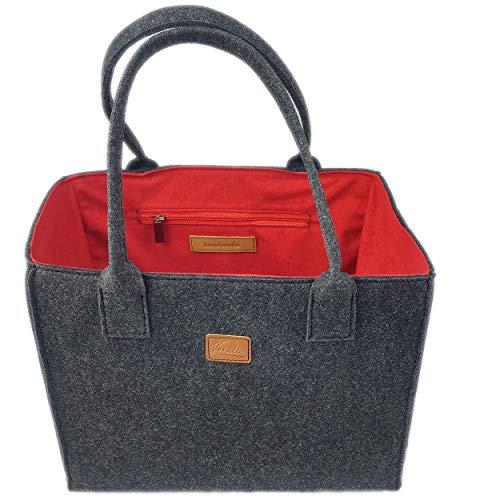 Venetto Filztasche Handtasche Damentasche Damen Henkeltasche Umhängetasche Einkaufstasche Shopper Tasche aus Filz (schwarz-rot)