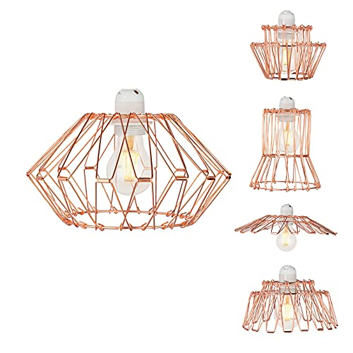 Industrial Metal Light Shade - Multi-Shape DIY Lamp Shades Wire Basket Cage Pendant Ceiling Light Fixture Geometric Lampshade for Table Lamp Floor Lamp Living Room Bedroom Hallway - Rose Gold