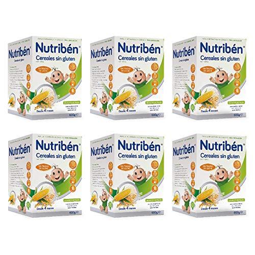 Nutribén Papilla de Cereales sin Gluten, Sin aceite de Palma ni azucares añadidos - Alimento Para bebés- Desde Los 4 Meses- Pack De 6 unidades x 600 g