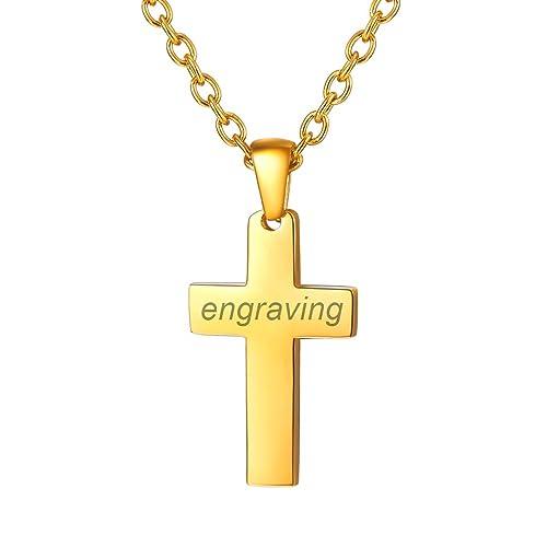 "18k Or Jaune Rempli Hommes//Femmes Pendentif Croix 18/"" Chaîne Fashion Jewelry"