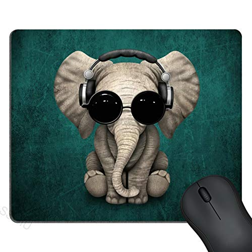 SSOIU Vintage Cute Elephant Baby Wearing Glasses Mouse Pad Green Pattern Headset Music Elephant Mousepad Non-Slip Rubber Gaming Mouse Pad Rectangle Mouse Pads for Computers Laptop