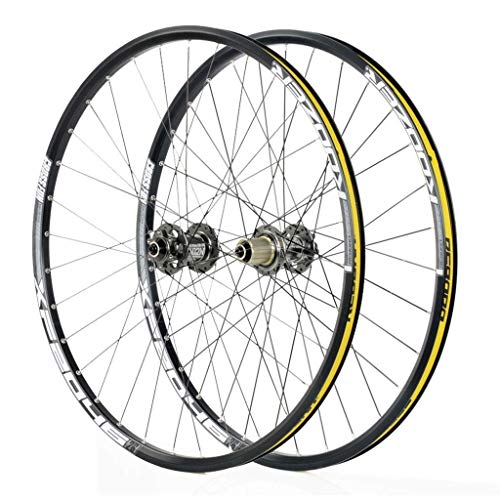 Cycling Wheels For 26 27.5 29 Inch Mountain Bike Wheelset, Alloy Double Wall Quick Release Disc Brake Compatible 8-11 Speed, Yellow, 29.5inch